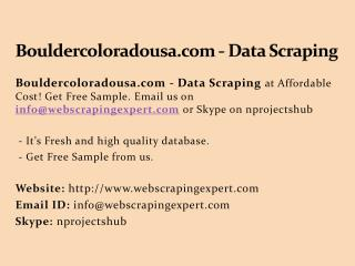 Bouldercoloradousa.com - Data Scraping