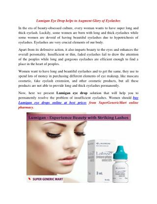 Buy Lumigan Eye Drops Online to Make Eyes Glaucoma Free