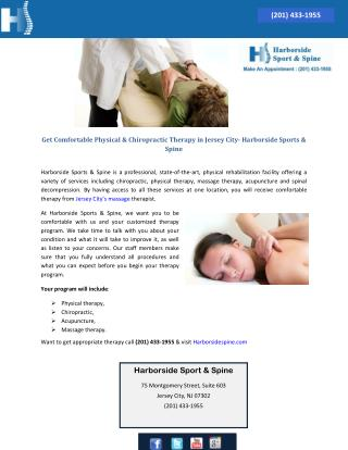 Get Comfortable Physical & Chiropractic Therapy in Jersey City- Harborside Sports & Spine