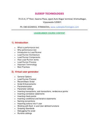 loadrunner training from INDIA|USA|UK.