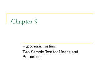 Hypothesis Testing: Two Sample Test for Means and Proportions