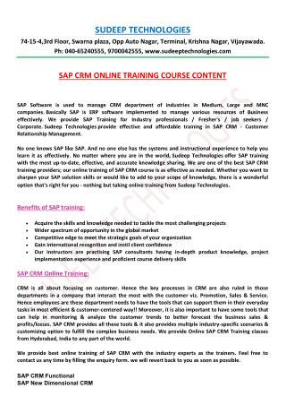 SAP CRM Online Training in Hyderabad|USA|UK|