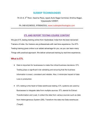 Etl testing training from INDIA|USA|UK.