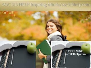 SOC 313 HELP Inspiring Minds/soc313help.com