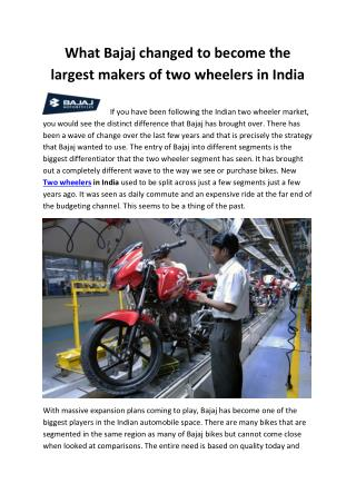 What Bajaj changed to become the largest makers of two wheelers in India