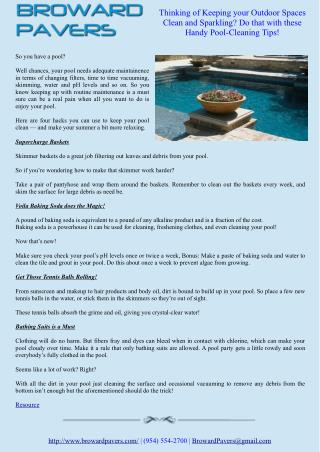 Thinking of Keeping your Outdoor Spaces Clean and Sparkling? Do that with these Handy Pool-Cleaning Tips!