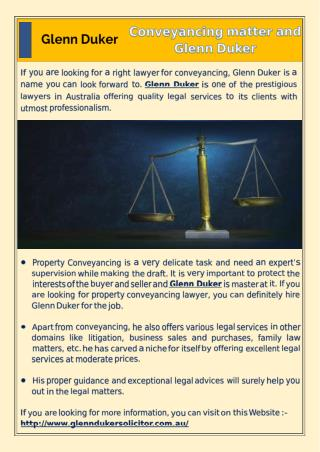 Conveyancing matter and Glenn Duker