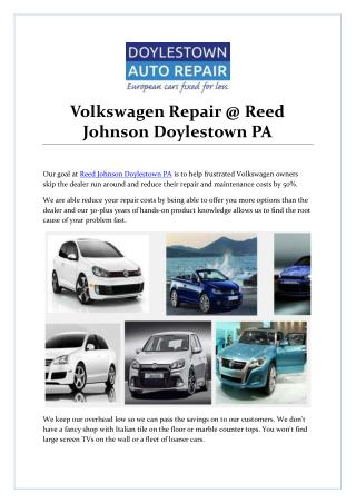 Volkswagen Repair @ Reed Johnson Doylestown PA