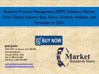 Business Process Management (BPM) Software Market 2016: Global Industry Size, Share, Growth, Analysis, and Forecasts to