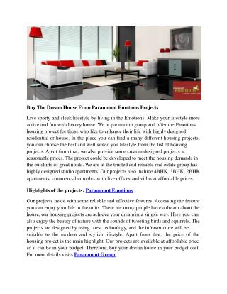 Buy The Dream House From Paramount Emotions Projects