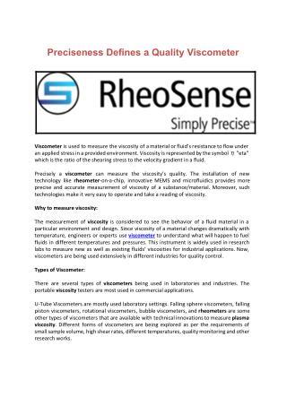 Preciseness Defines a Quality Viscometer