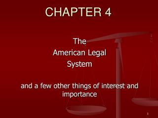 The American Legal  System  and a few other things of interest and importance