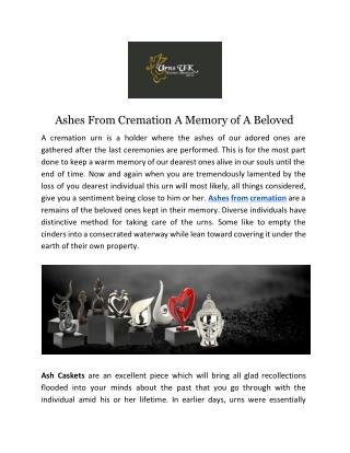 Ashes From Cremation A Memory of A Beloved