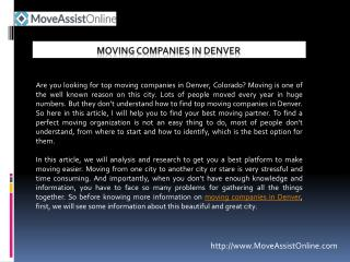 Best Moving Companies in Denver for 2016