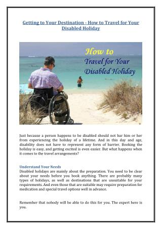 Getting to Your Destination - How to Travel for Your Disabled Holiday