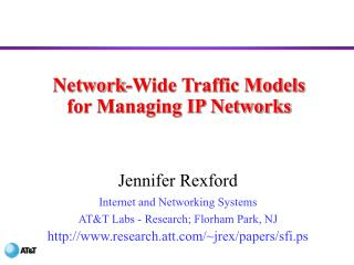 Network-Wide Traffic Models for Managing IP Networks