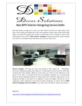Best BPO Interior Designing Service Delhi