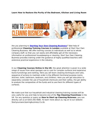 Cleaning Training Courses in London