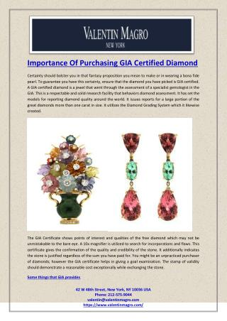Importance Of Purchasing GIA Certified Diamond