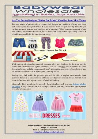 Are You Buying Designer Clothes For Babies? Consider Some Vital Things