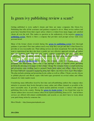 Green ivy books review
