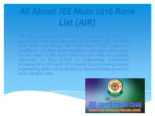 Know all about JEE Main 2016 Rank List