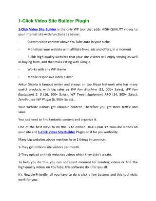 1-Click Video Site Builder
