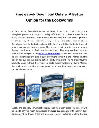 Free eBook Download Online: A Better Option for the Bookworms