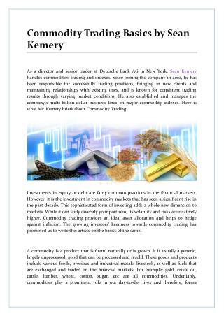 Commodity Trading Basics by Sean Kemery