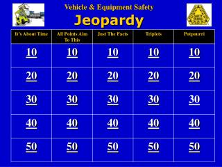 Vehicle  Equipment Safety  Jeopardy
