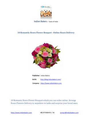 Online Roses Delivery- Order 10 Romantic Roses Flowers Online