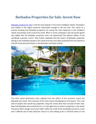 Barbados Properties for Sale - Invest Now