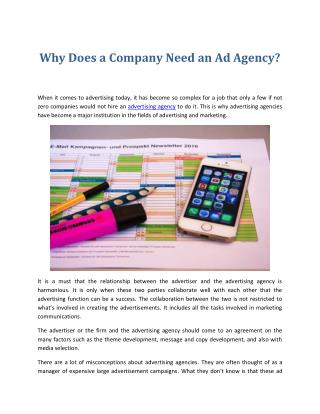 Why Does a Company Need an Ad Agency?