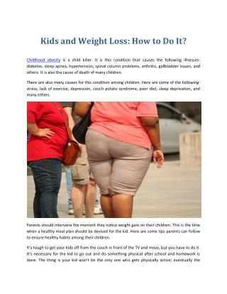 Kids and Weight Loss: How to Do It?