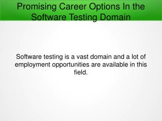 Promising Career Options In the Software Testing Field