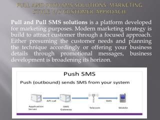 Pull and Push SMS Solutions: Marketing Style V/s Customer
