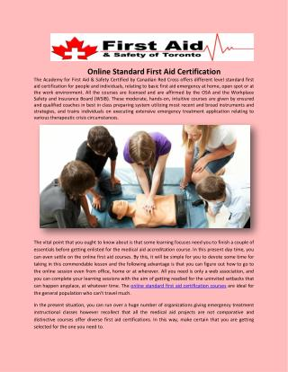 Online Standard First Aid Certification