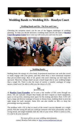 Wedding Bands vs. Wedding DJs - Roselyn Court