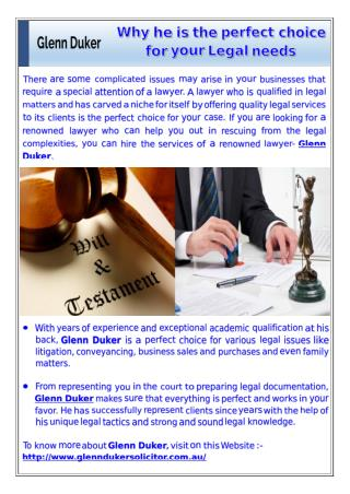 Glenn Duker - Why he is the perfect choice for your Legal needs