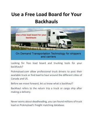 Use a Free Load Board for Your Backhauls