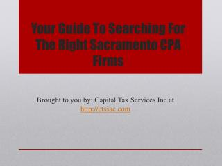 Your Guide To Searching For The Right Sacramento CPA Firms