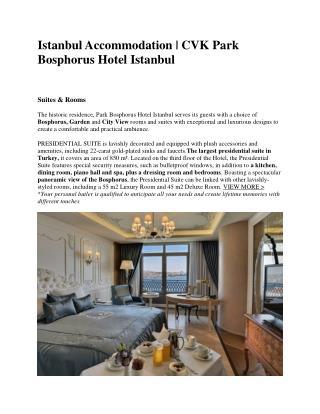 Istanbul Accommodation - Park Bosphorus Hotel Istanbul