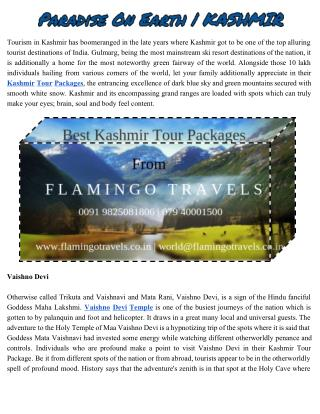The best Jammu and kashmir tour packages | Flamingo