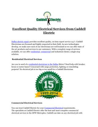 Excellent Quality Electrical Services from Caddell Electric