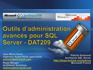 Outils d administration avanc s pour SQL Server - DAT209