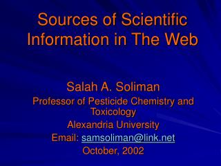 Sources of Scientific Information in The Web
