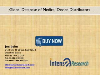 Global Database of Medical Device Distributors Market 2016: Industry Analysis, Market Size, Share, Growth and Forecast