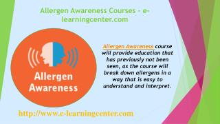 Allergen Awareness Courses - e-learningcenter.com