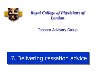 7. Delivering cessation advice