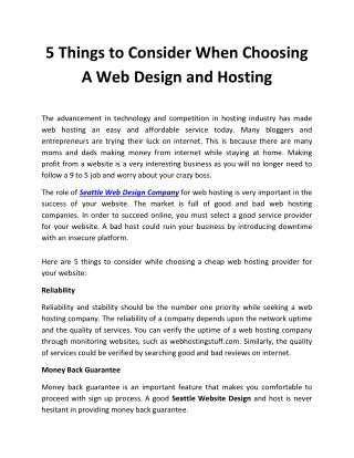 Factors to Consider When Choosing A Web Design and Hosting